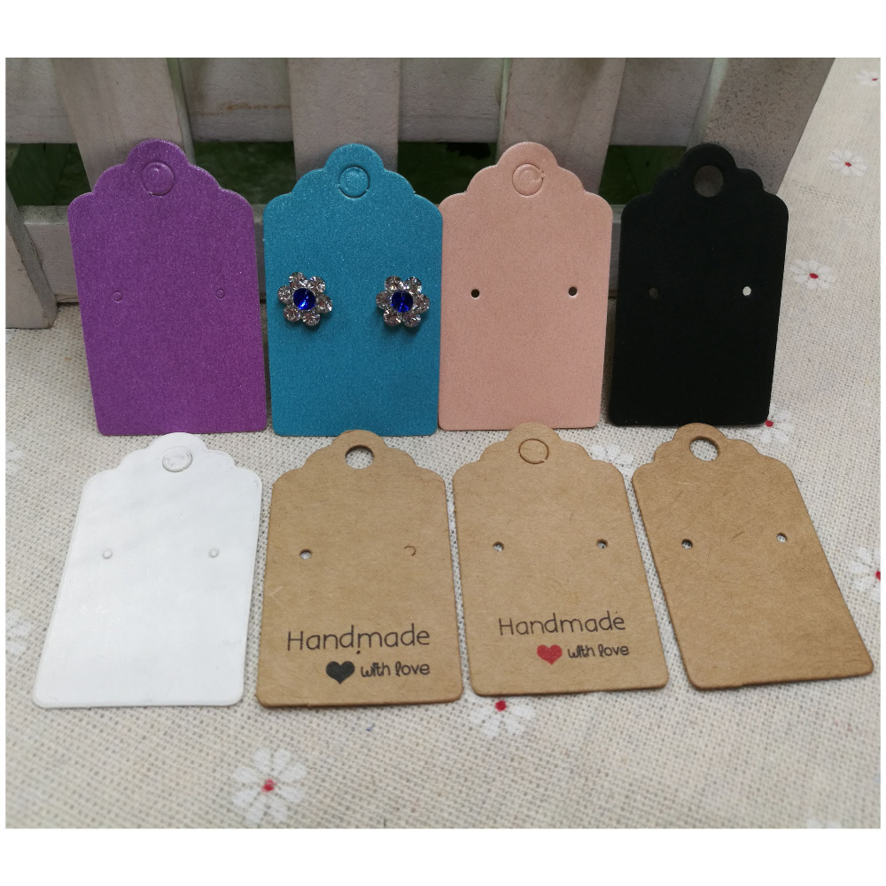 200pcs Per Lot 5*3cm Paper White/kraft/color Stud Earring Display Card Blank Hang Tag Jewelry Earring Cards