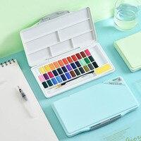 24/36/48 renkler Katı Su Renk Boya Seti Macaron Parlak Renk Yüksek Kapasiteli Suluboya Boyama Pigment Seti çizim için