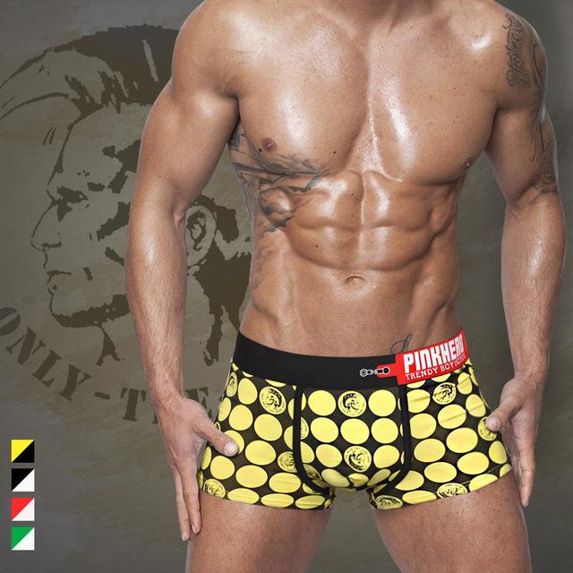 PINK HEROES Fashion Men's Boxers roupa interior dos homens boxer Shorts Sexy mens Underwear boxershorts men cotton male panties