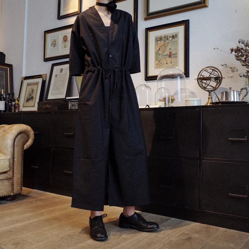 2018 Neue Männer Kleidung Haar Stylist Mode Laufsteg V Kragen Halbe Hülse Overalls Breite Bein Hosen Kostüme