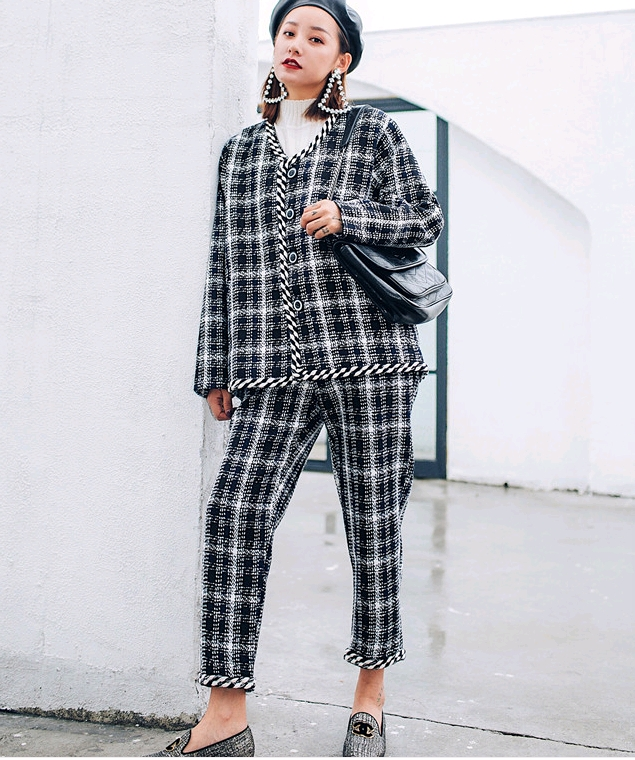 Famous warm fragrance professional suit female autumn and winter 2018 new tweed goddess chic two-piece suit temperamentJ20190100