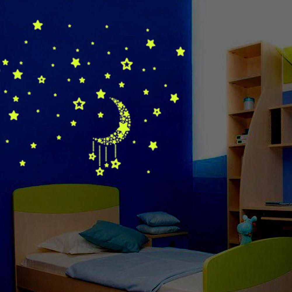100% новый товар высокого качества. Набор детской спальни ФЛУОРЕСЦЕНТНОЕ свечение в темных звездах наклейки на стену