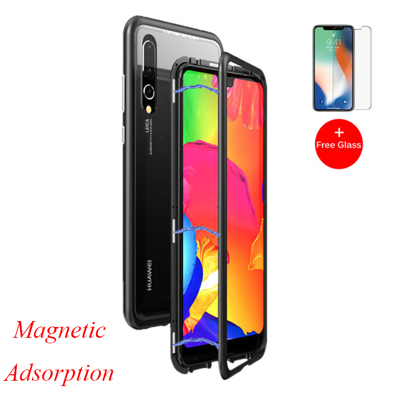 P20Pro Magnetic Adsorption Flip Case for Huawei P20 Pro Tempered Glass Back Cover Luxury Metal Bumper Case for Huawei P20 P 20 in Fitted Cases from Cellphones Telecommunications