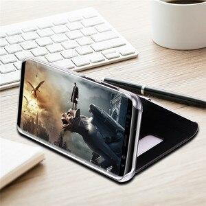 Image 5 - Funda abatible con espejo y ventana para Samsung Galaxy S9 Plus, S8 Plus, S7, S6 Edge, carcasa de teléfono con Chip inteligente para Samsung Note 9, 8, Note 5