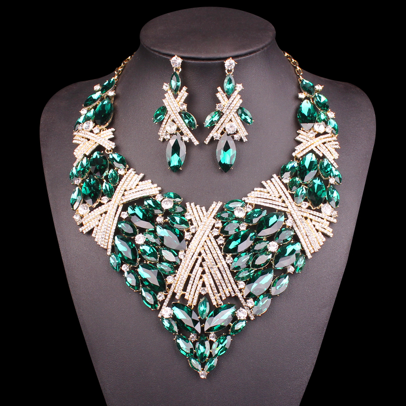 Fashion Indian big Jewellery Crystal Necklace Earrings set Bridal Jewelry Sets for Brides Wedding Costume Accessories Decoration