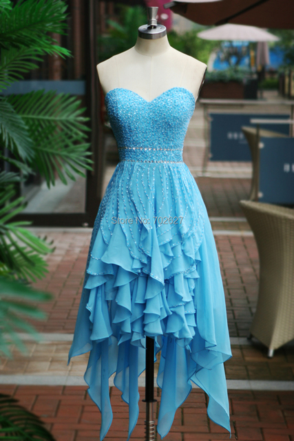 Real Image Cocktail Dresses Chiffon Cascading Ruffles Sweetheart Sleeveless Backless Sequins Beading High Low Crystal A Line