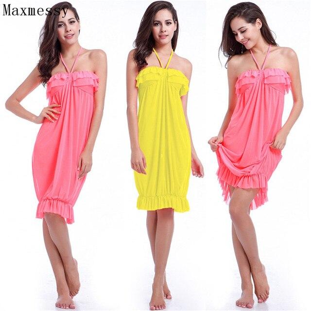 f664e73652 Maxmessy Sexy Halter Neck Cover Up Bikini Beach Dress Women Summer  Strapless Tube Top Cover Ups Tunics Swimwear MC261