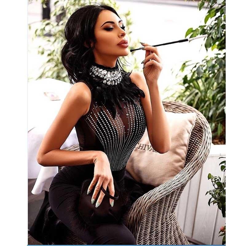 Wholesale 2019 new dress Black feather Rhinestone Net yarn perspective Luxury sexy Celebrity Party bandage Dress