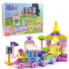 Peppa 豚ブロックおもちゃ 2213 73 ピース/セットビッグ列車の建物は子供たちがおもちゃの組み立ておもちゃ子供のため