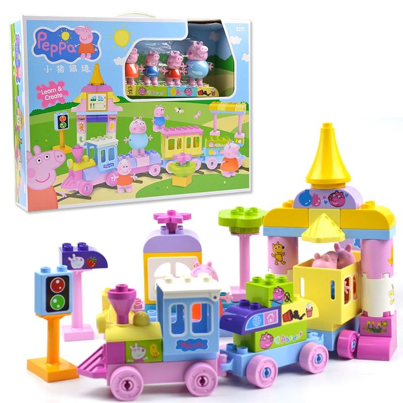 Peppa pig blocs jouets 2213 73 pièces/ensemble grand Train construction ensembles enfants jouer jouet assemblé jouets pour enfants