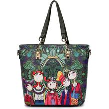 Women Handbag Leather Female Bag Fashion Cartoon Shoulder Bag High Quality 6-Piece Set Designer Brand Bolsa Feminina