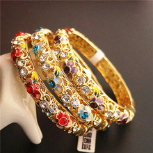 High End Rhinestone Chinese filigree Enamel Bangle Cloisonne Double decker Ethnic Bangles For Women Fashion Jewelry Gift