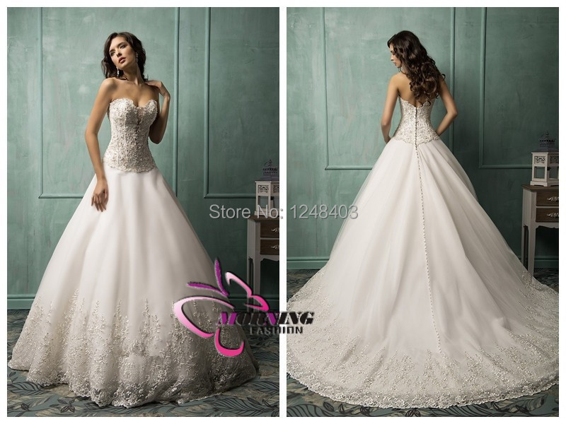 2015 White Lace Line Wedding Dress Sweetheart Sleeveless Backless romantic vestido de noiva Crystal Amelia Sposa Clara - Dream blue wedding dresses store
