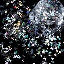 1 коробка 3 мм 4 мм) бусины типа «жемчужины», перламутровый цвет, Размеры четырех углах звезды ногтей Тонкий блестка хлопья лазерный блестящие цветные блестки для маникюра макияж, боди-арт Декор
