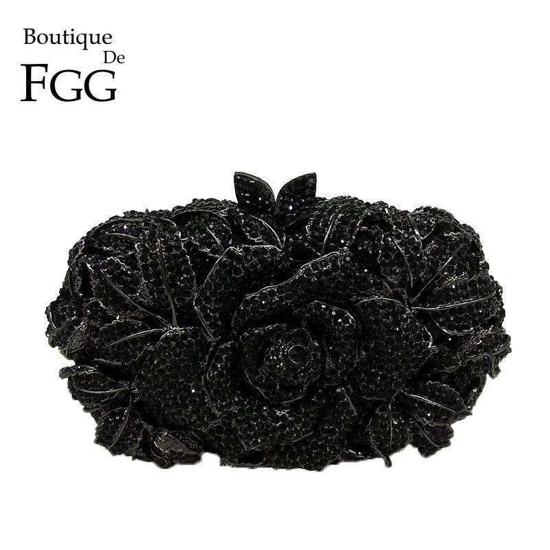 Boutique De FGG Classic Black Jet Crystal Clutch Evening Bag For Women Metal Floral Clutches Wedding Party Flower Handbag Purse