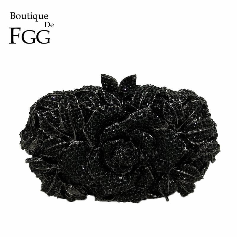 Бутик де FGG угольно черный кристалл клатч вечерняя сумка для женщин металлический клатч с цветочным принтом Свадебная вечеринка Цветок Роза сумочка и кошелек - 2