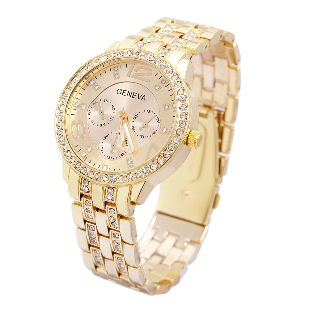 Luxury Geneva Brand fashion gold watch women ladies men Crystal dress quartz wrist watch Relogio Feminino ge001  hot luxury brand geneva fashion men women ladies watches gold stailess steel numerals analog quartz wrist watch for men women