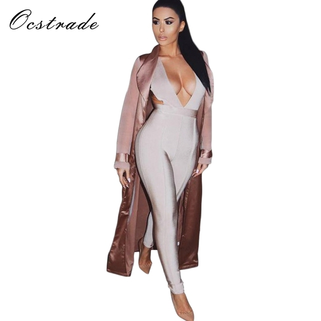 Women's Deep v Jumspuit 2016 New Arrival Nude Hollow Out Sexy Bandage Jumpsuits Wholesale HL
