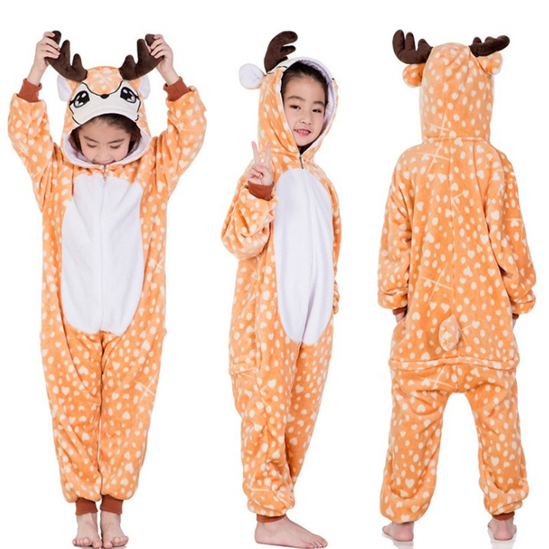 dc7da65d7252 Children s Animal Kigurumi Tiger Lion Fox Sika Deer Unicorn Kids Onesies  Pajamas Cosplay Costume for Halloween Carnival Party