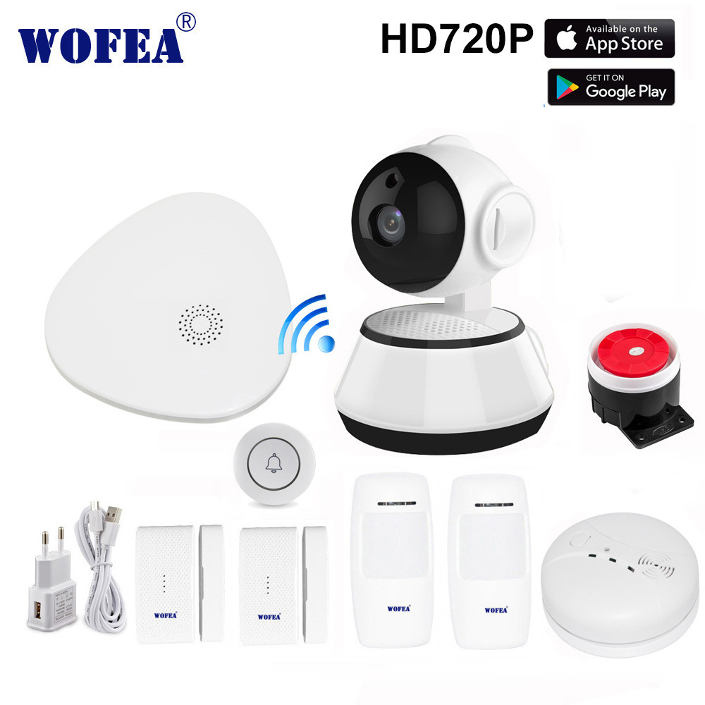 wofea wifi camera alarm system smart home wifi gataway v10 APP & phone call security kits