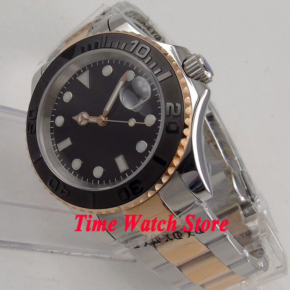 Здесь можно купить  40mm BLIGER black sterile dial date saphire glass gold plated bracelet MIYOTA Automatic movement men