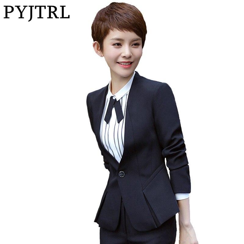 d995813ff86 PYJTRL Brand Two Piece Set Pink Office Uniform Designs Women Elegant  Fashion Skirt Formal Suits Ladies ...