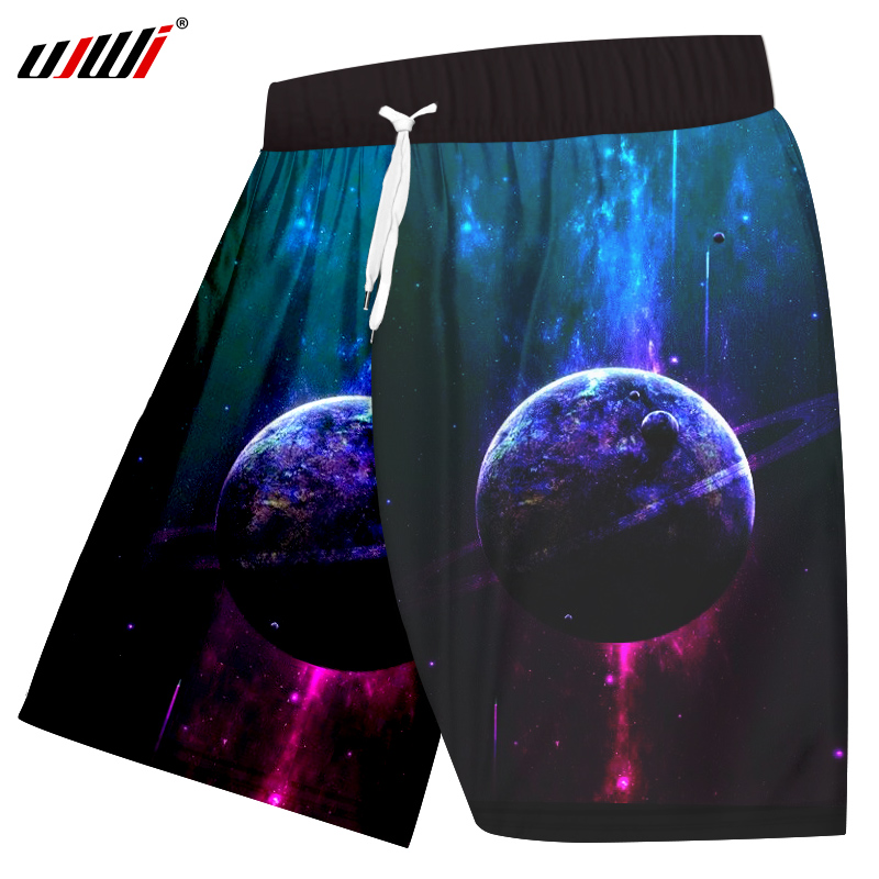 UJWI Fashion Men Shorts 3d Printed Planets Shorts Space Star Boardshort Male Hip Hop Outwear Trousers Homme Casual Shorts 6XL