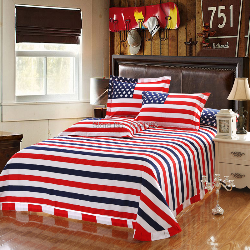 Preferred USA flag bedding set king size American Pie cotton bed sheets  UG26