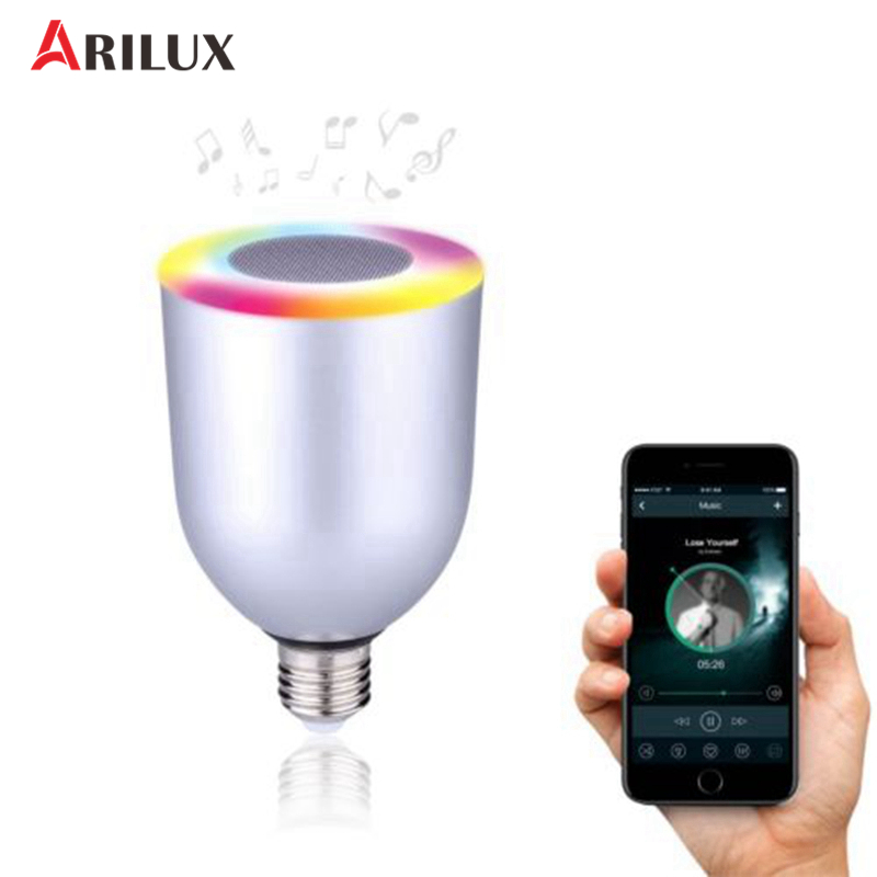 ARILUX 10W E27 Smart Speaker Bulb Light Lamp App Controlled Bluetooth Bulb Dimmable Multicolored LED Bulb Light AC100-240V [dbf]e27 10w bluetooth speaker for mobile smart led light lamp music wireless speaker color change dimmable by ios android app