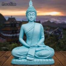 Estatua de Buda de resina azul, esculturas de Budismo de Tailandia, estatuillas de Buda Feng Shui, decoración para el hogar y la Oficina, adornos de regalo artesanal
