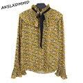 Mulheres Blusa de Chiffon 2017 Nova Primavera Doce Pequena Gola Alta Plissada Longa Camisa de Manga Chifre Blusas Florais Topos de Estudante LH653