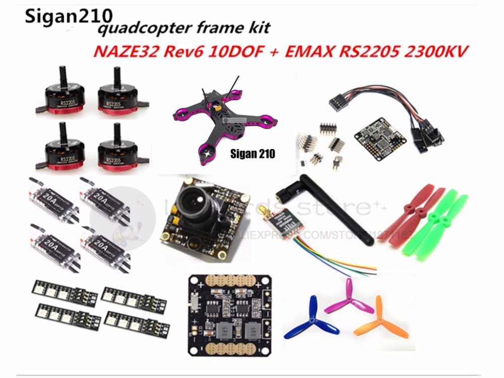 DIY FPV mini drone Sigan210 quadcopter pure carbon frame kit EMAX RS2205 + littlebee 20A ESC 2-4S + NAZE32 Rev6 10DOF + camera rc plane qav zmr250 3k carbon fiber naze 6dof rve6 rs2205 favourite 20a emax