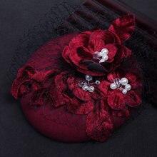 Элегантная бордовая шляпа ручной работы с искусственным жемчугом