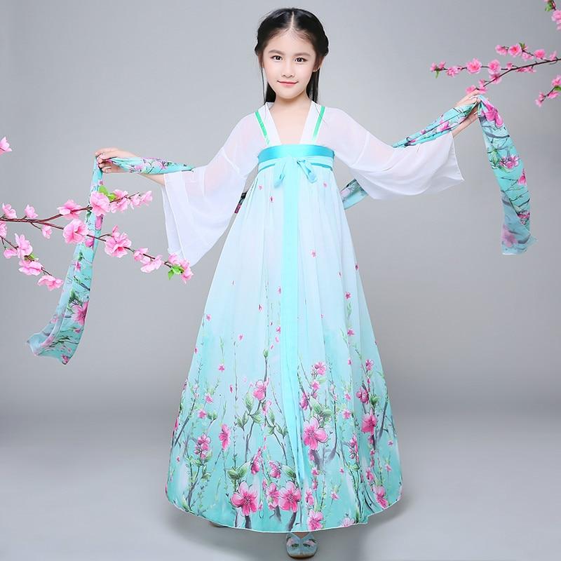 Children Chinese Folk Dance Costume Girls Hanfu Dress Chinffon Kids Princess Dance Costume for Stage Fairy