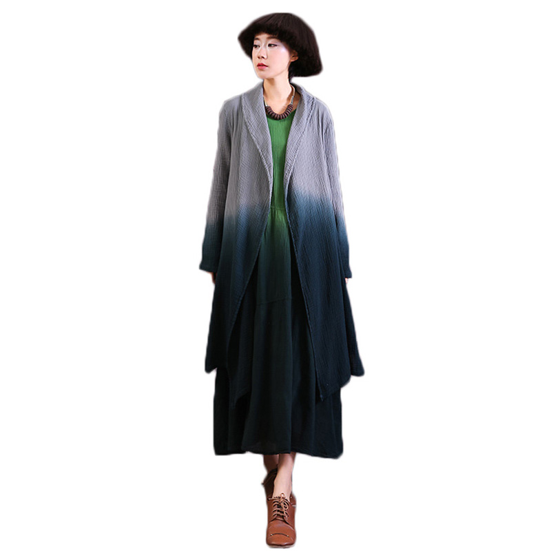 Cotton and linen coat female 2018 spring fashion women trench coat long section loose spring thin windbreaker coat female