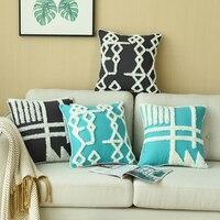 Luxo capa de almofada tufted preto cerceta azul fronha com franjas para sofá assento simples decoração para casa 45*45cm de espessura da lona|Capa de almofada|   -