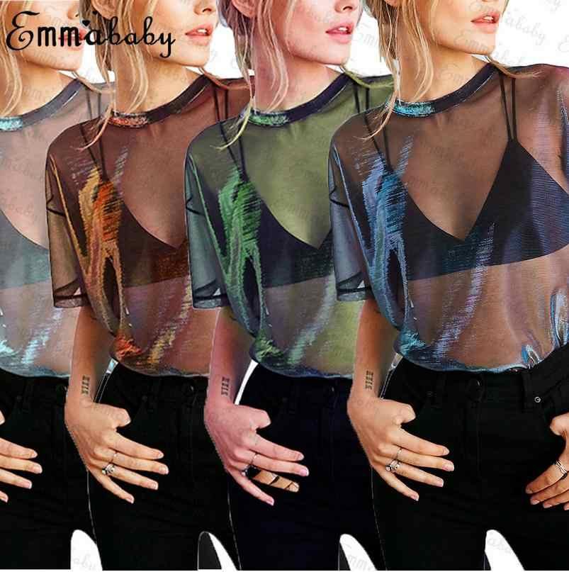 Neue Mode Frauen Sheer Mesh Fisch Net Short Hülse Sehen Durch Crop Top T-Shirt Sexy Transparente Tops