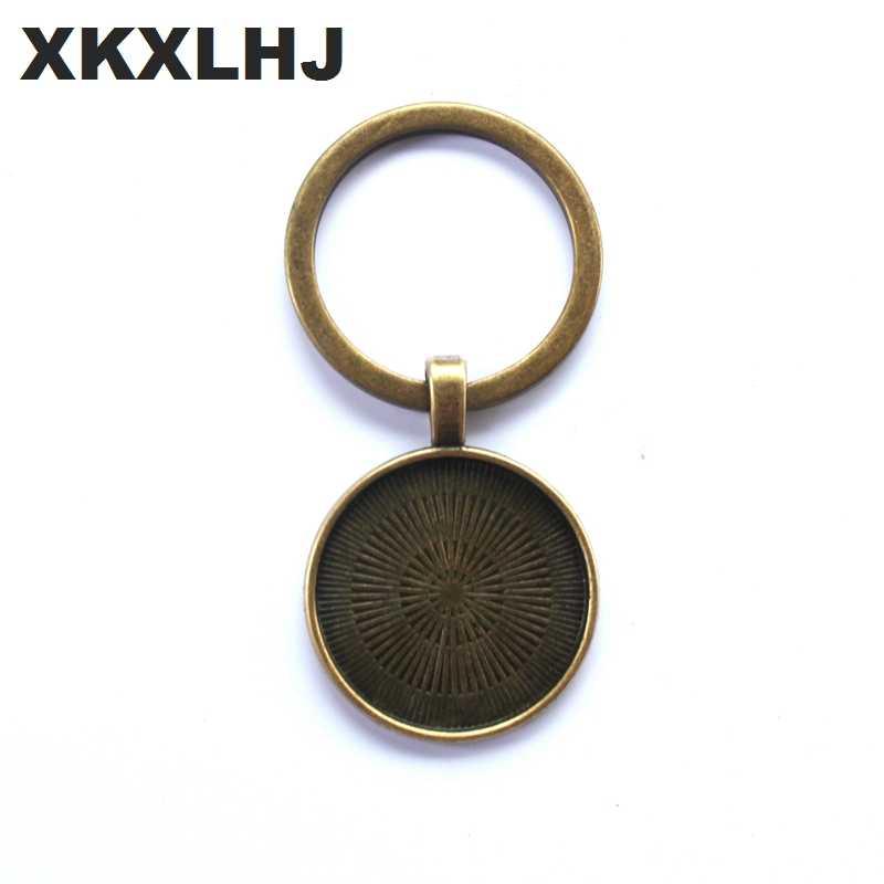 XKXLHJ Novidade Borboleta Combinação Keychain DIY Cabochon de Vidro Sinal De Paz Hippie Ônibus do Sinal de Paz Pingente Charme Anel Chave Titular