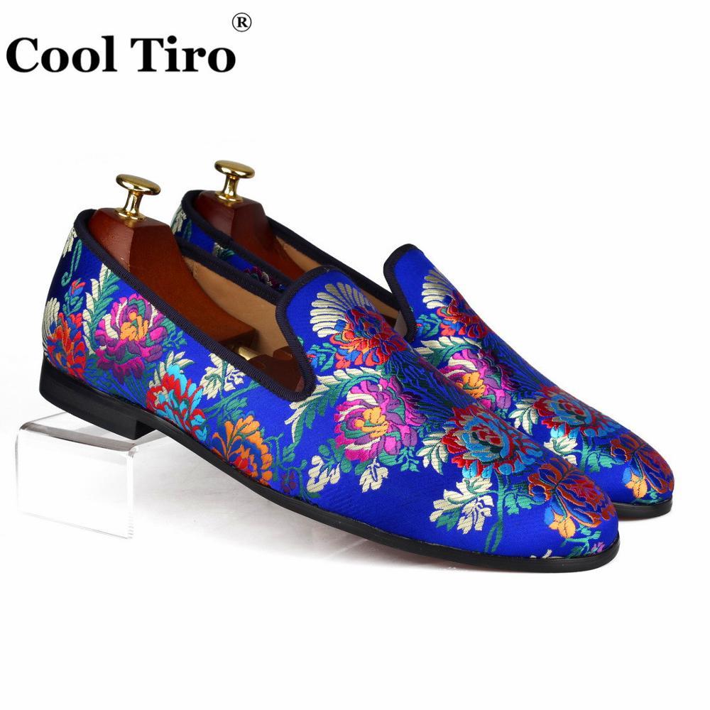 En Cuir Cool Soie Mocassins Sur De Slip Robe Bleu Chaussures Véritable Casual Hommes Pantoufles Mariage Appartements Jacquard Tiro R54ALq3j