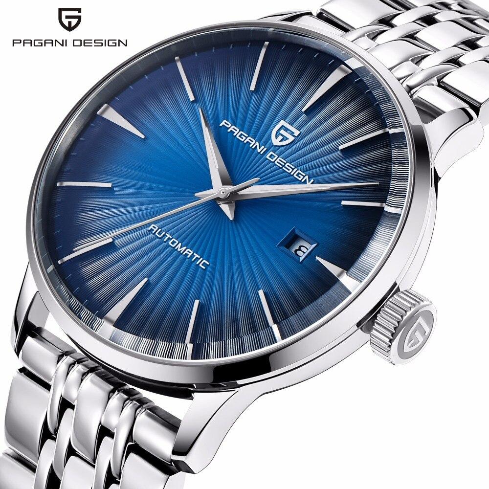 PAGANI moda hombres mecánicos reloj impermeable clásico de la marca de lujo automático de negocios reloj de pulsera masculino relogio masculino