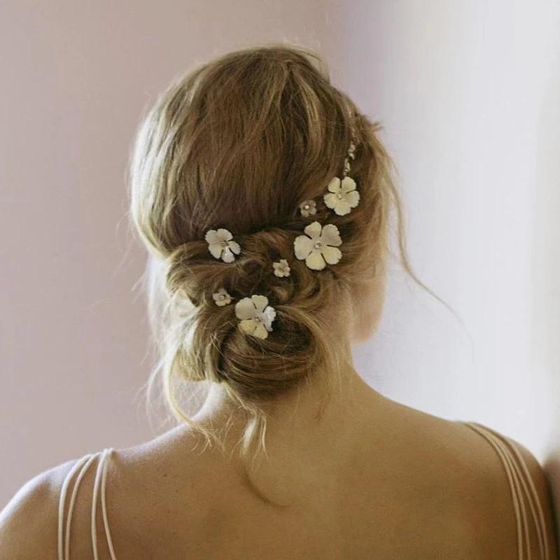 Set-for-wedding Set-for-bridal Set-for-flower girl Wedding hair pins Pink for flower girl Flower hair pins Pink hair pins Bridal pins