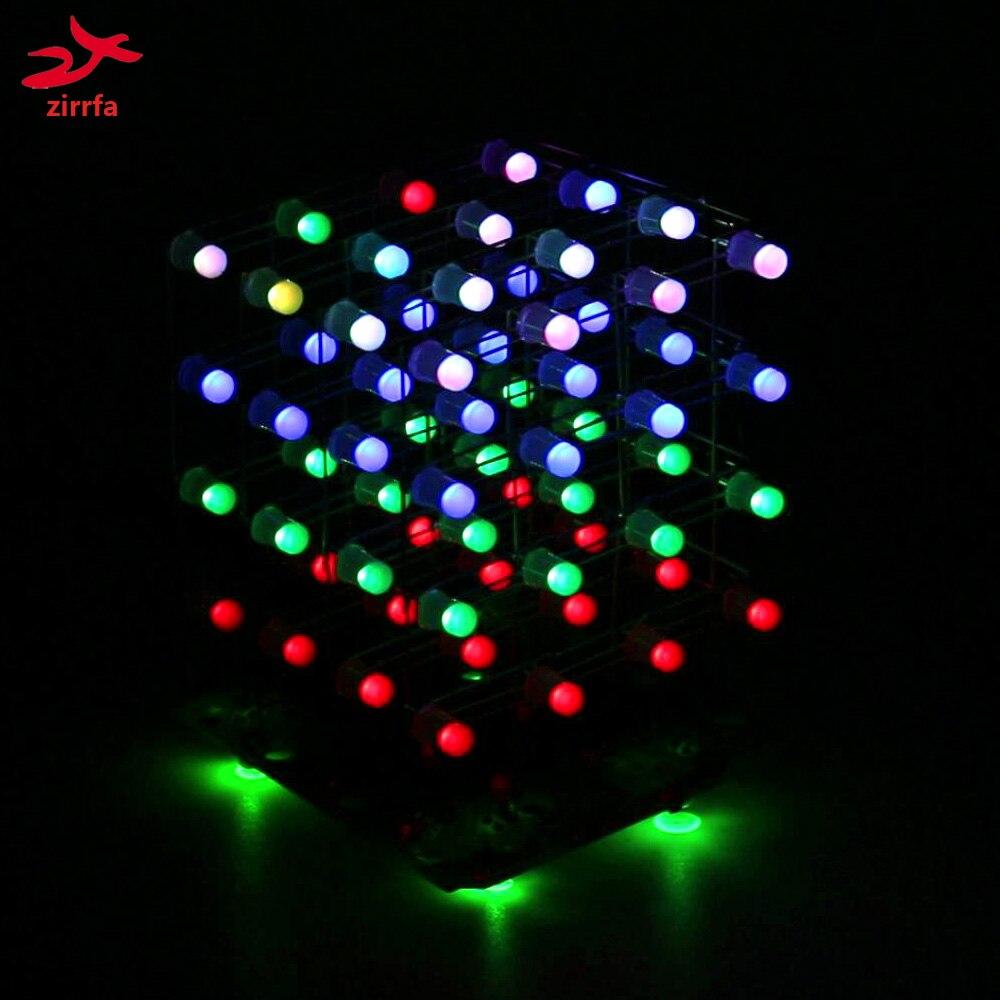Zirrfa Mais Novo 3d 4x4x4 Rgb Cubeeds Cor Cheia Led Display De Luz Eletrônico Kit Diy/junior 4*4*4 Apoio Audrio Alta Qualidade