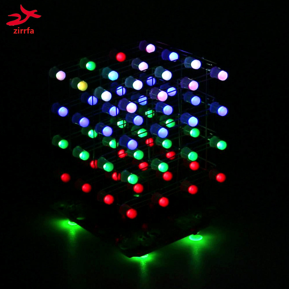 zirrfa Newest 3D 4X4X4 RGB cubeeds Full Color LED Light display Electronic DIY Kit /Junior 4*4*4 support Audrio high quality