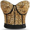 B Cup Gold Sequins Studded Belly Dance Bra Top Cotton Women Bras Brassiere Push Up Strapless Bralette Sexy Lingerie Underwear