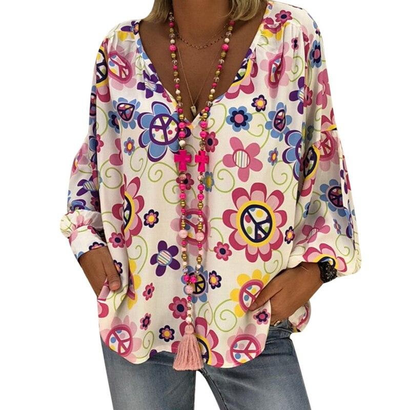 NIBESSER Floral Print Women Blouse Shirt Long Sleeve V-Neck Shirts Harajuku Blusas Feminina Female Casual Loose Boho Tops 2019