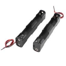 Popular 2Pcs Dual Layers Black Plastic 4 x AA 6V Battery Holder Case w Leads