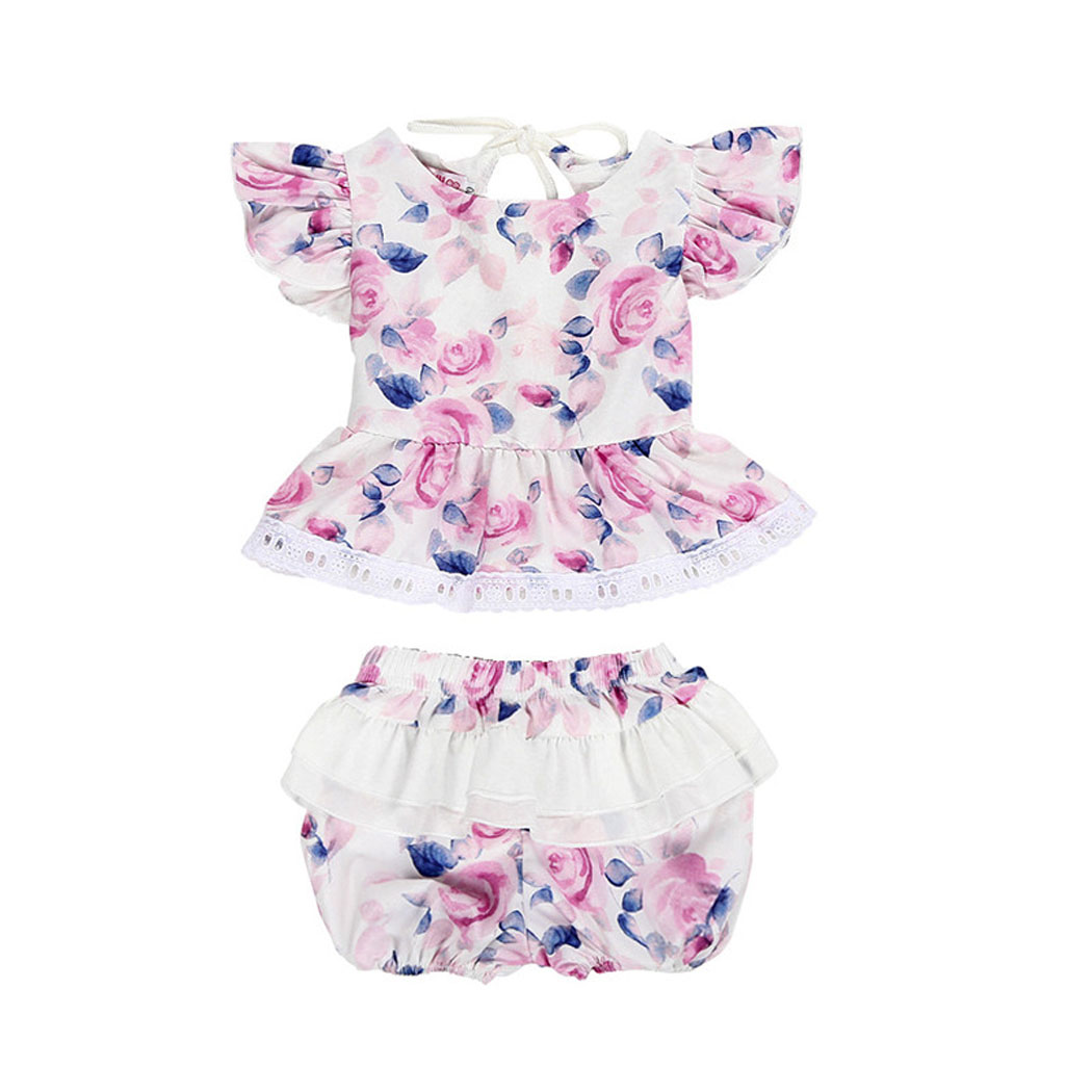 Newborn Baby Girl Clothes Sleeveless Backless Ruffles Floral Lace Tops Tulle Patchwork Shorts 2pcs Set Princess Outfits 0-24M