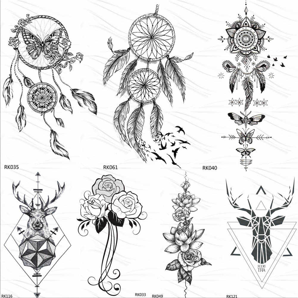 OMMGO Dream Catcher Butterfly Feather Temporary Tattoos Sticker Black Henna Body Art Arm Fake Tatoos Leaf Sexy Custom Tattoo