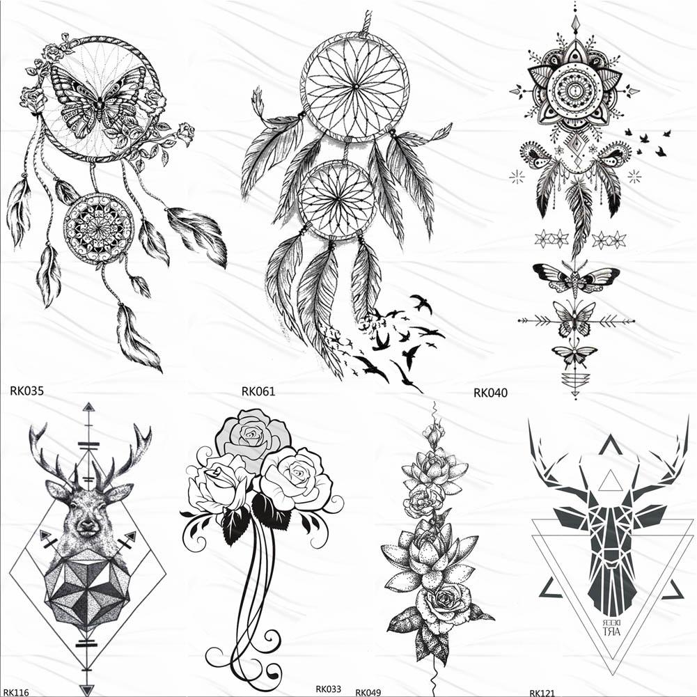 OMMGO Dream Catcher Butterfly Feather Temporary Tattoos Sticker Black Henna Body Art Arm Fake Tatoos Leaf Sexy Custom Tattoo