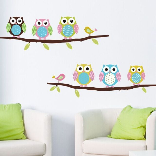 Free Shipping Cartoon Cute Branches Owl Animal DIY Removable Wall Stickers for Parlor Bedroom Home Decor House Decoration